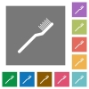 Toothbrush square flat icons - Toothbrush flat icons on simple color square backgrounds