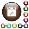 Edit schedule item color glass buttons - Edit schedule item white icons on round color glass buttons