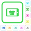 Mobile shopping vivid colored flat icons - Mobile shopping vivid colored flat icons in curved borders on white background