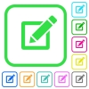 Editing box with pencil vivid colored flat icons - Editing box with pencil vivid colored flat icons in curved borders on white background