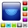 Slice of watermelon color square buttons - Slice of watermelon icons in rounded square color glossy button set