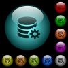 Database configuration icons in color illuminated glass buttons - Database configuration icons in color illuminated spherical glass buttons on black background. Can be used to black or dark templates