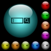 Search box with cursor icons in color illuminated glass buttons - Search box with cursor icons in color illuminated spherical glass buttons on black background. Can be used to black or dark templates