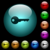 Safety key icons in color illuminated glass buttons - Safety key icons in color illuminated spherical glass buttons on black background. Can be used to black or dark templates