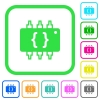 Hardware programming vivid colored flat icons - Hardware programming vivid colored flat icons in curved borders on white background