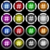 Hash tag white icons in round glossy buttons with steel frames on black background. The buttons are in two different styles and eight colors.