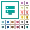 Network drive flat color icons with quadrant frames - Network drive flat color icons with quadrant frames on white background