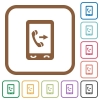 Outgoing mobile call simple icons - Outgoing mobile call simple icons in color rounded square frames on white background