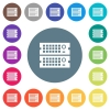 Rack servers flat white icons on round color backgrounds - Rack servers flat white icons on round color backgrounds. 17 background color variations are included.
