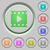 Movie play push buttons - Movie play color icons on sunk push buttons