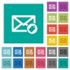 Tagging mail square flat multi colored icons - Tagging mail multi colored flat icons on plain square backgrounds. Included white and darker icon variations for hover or active effects.