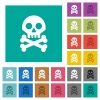 Skull with bones square flat multi colored icons - Skull with bones multi colored flat icons on plain square backgrounds. Included white and darker icon variations for hover or active effects.