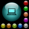 Laptop with blank screen icons in color illuminated glass buttons - Laptop with blank screen icons in color illuminated spherical glass buttons on black background. Can be used to black or dark templates