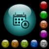 Calendar alarm icons in color illuminated glass buttons - Calendar alarm icons in color illuminated spherical glass buttons on black background. Can be used to black or dark templates