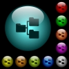 Shared folders icons in color illuminated glass buttons - Shared folders icons in color illuminated spherical glass buttons on black background. Can be used to black or dark templates