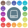 Hard disk drive flat white icons on round color backgrounds - Hard disk drive flat white icons on round color backgrounds. 17 background color variations are included.
