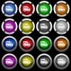 Free shipping white icons in round glossy buttons on black background - Free shipping white icons in round glossy buttons with steel frames on black background. The buttons are in two different styles and eight colors.