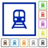Train flat framed icons - Train flat color icons in square frames on white background