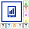 Mobile signal strength flat framed icons - Mobile signal strength flat color icons in square frames on white background