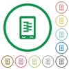 Mobile compress data flat icons with outlines - Mobile compress data flat color icons in round outlines on white background