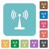 Wlan network rounded square flat icons - Wlan network white flat icons on color rounded square backgrounds