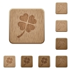 Four leaf clover wooden buttons - Four leaf clover on rounded square carved wooden button styles