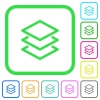 Layers vivid colored flat icons - Layers vivid colored flat icons in curved borders on white background