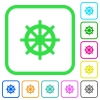Steering wheel vivid colored flat icons - Steering wheel vivid colored flat icons in curved borders on white background