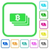 Bitcoin banknotes vivid colored flat icons - Bitcoin banknotes vivid colored flat icons in curved borders on white background