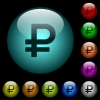 Ruble sign icons in color illuminated glass buttons - Ruble sign icons in color illuminated spherical glass buttons on black background. Can be used to black or dark templates