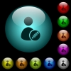 Edit user account icons in color illuminated glass buttons - Edit user account icons in color illuminated spherical glass buttons on black background. Can be used to black or dark templates