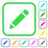 Single pencil with rubber vivid colored flat icons - Single pencil with rubber vivid colored flat icons in curved borders on white background