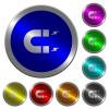 Horseshoe magnet luminous coin-like round color buttons - Horseshoe magnet icons on round luminous coin-like color steel buttons