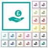Pound earnings flat color icons with quadrant frames - Pound earnings flat color icons with quadrant frames on white background