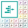 Increase right indentation of content flat color icons with quadrant frames - Increase right indentation of content flat color icons with quadrant frames on white background