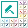 Paint roller flat color icons with quadrant frames on white background