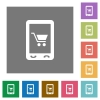 Mobile shopping square flat icons - Mobile shopping flat icons on simple color square backgrounds