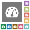 Dashboard square flat icons - Dashboard flat icons on simple color square backgrounds