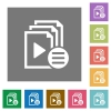 Playlist options square flat icons - Playlist options flat icons on simple color square backgrounds