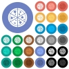 Pizza round flat multi colored icons - Pizza multi colored flat icons on round backgrounds. Included white, light and dark icon variations for hover and active status effects, and bonus shades on black backgounds.