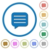 Message box with rows icons with shadows and outlines - Message box with rows flat color vector icons with shadows in round outlines on white background