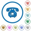 Vintage retro telephone flat color vector icons with shadows in round outlines on white background - Vintage retro telephone icons with shadows and outlines