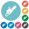 Chainsaw flat white icons on round color backgrounds - Chainsaw flat round icons