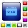 Vintage retro walkman color square buttons - Vintage retro walkman icons in rounded square color glossy button set