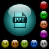PPT file format icons in color illuminated glass buttons - PPT file format icons in color illuminated spherical glass buttons on black background. Can be used to black or dark templates