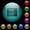 Rack servers icons in color illuminated glass buttons - Rack servers icons in color illuminated spherical glass buttons on black background. Can be used to black or dark templates
