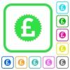 Pound sticker vivid colored flat icons - Pound sticker vivid colored flat icons in curved borders on white background