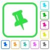 Push pin vivid colored flat icons - Push pin vivid colored flat icons in curved borders on white background