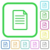Single Document vivid colored flat icons - Single Document vivid colored flat icons in curved borders on white background