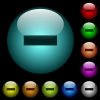 Remove item icons in color illuminated glass buttons - Remove item icons in color illuminated spherical glass buttons on black background. Can be used to black or dark templates